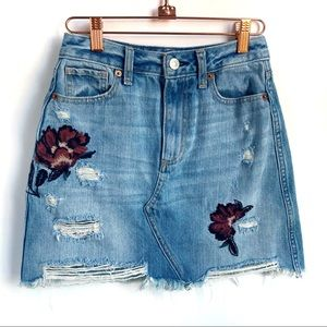 Abercrombie Embroidered Distressed Jean Skirt
